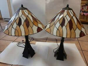 """Tiffany Style Stained 28"""" Table Lamp Matching PAIR Colour Creations"""