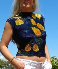 VINTAGE Sexy 1980's ORIGINAL Flirty Midriff Crinkled Retro Top