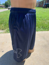 Under Armour Mens Loose Fit Heat Gear BLUE Athletic Sport Workout Shorts NEW