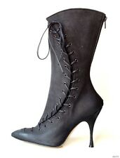 new $1195 MANOLO BLAHNIK 'Lustra' black corset zipper BOOTS shoes 37.5 7.5 -SEXY