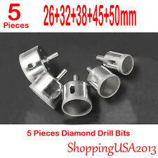 5 Pcs 26-50mm Diamond Coated Drill Bits Set Hole Saw Cutter Tool Glass Marble**