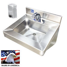 ADA HAND SINK ELECTRONIC FAUCET STAINLESS STEEL VERTICAL PUSH SOAP DISPENSER