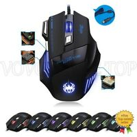 Ratón 7 Botones Juego LED óptico Laser USB Wired Para PC Gaming 5500DPI Mouse