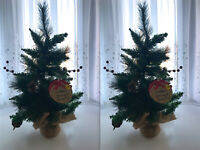 2 x WILKO 2' CHRISTMAS TREES WITH CONES & BERRIES WITH HESSIAN BASE