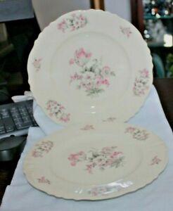 """Aberdeen China Moss Rose 10"""" Dinner Plate Scalloped Edges Ridges"""