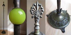 Antique VASELINE GLASS & DOUBLE SOCKET floor lamp Art Deco URANIUM cast iron