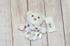 """Vintage Carters White Teddy Bear Primary Clown Ring Rattle Plush Baby Toy 6"""" NWT"""
