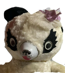 """24"""" Pink & White Panda Teddy Bear Vintage 50's Untagged Gund? Rubber Nose Face"""