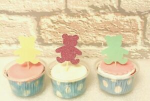 Glitter Baby Bears Cake Toppers Christening First Birthday Baby Showers & More
