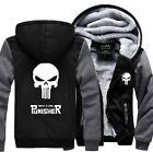 Punisher Skull Cosplay Coat Zipper Hoodie Winter Fleece Thick Jacket Sweatshirts