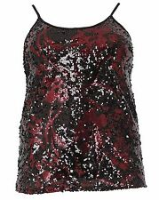 Simply Be Emily Black Burgundy Sequin Plus Size Top Vest