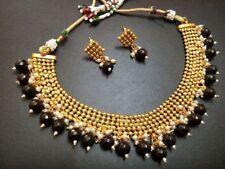 Indian Latest Ethnic Gold Plated Black Beads Jewelry Kundan Necklace jewlery-