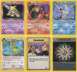 Pokemon Team Rocket Set rare cards Alakazam Charizard Blastoise Arbok etc CHOOSE