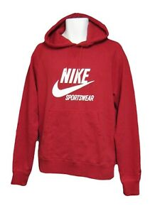 NEW Nike Sports Wear NSW Vintage Heavyweight Cotton Hoodie Red Medium