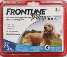 Frontline Plus for Dogs 23-44 lbs BLUE 3 MONTH 3 DOSES Genuine **FRESH**