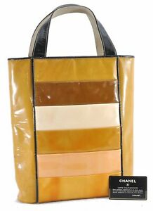 Authentic CHANEL Enamel Tote Bag Yellow CC D4793