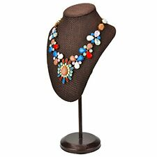 Brown Woven Fabric Freestanding Necklace Display Bust Jewelry Stand Holder Rack