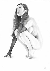 original drawing A3 18RV art samovar Graphite female nude Signed 2020
