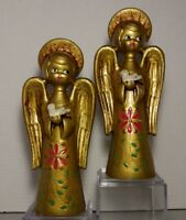 Paper Papier Mache Angel Pair Gold Pink Dove Figurine 10 In Vtg Xmas Decoration