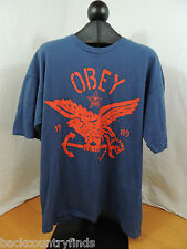 OBEY XL Blue with Red Eagle Est. 1989 100% Cotton T-Shirt