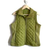 L.L. Bean Womens Quilted Vest Green Zip Up Pockets Lined Insulated Collar M