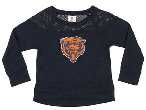 NFL Girls Youth Chicago Bears Streaky Performance Sweatshirt Top, Navy