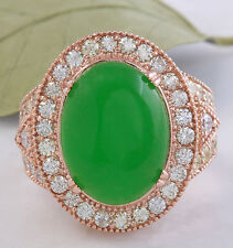 11.00Ct NATURAL JADE JADEITE and DIAMOND 14K Solid Rose Gold Ring