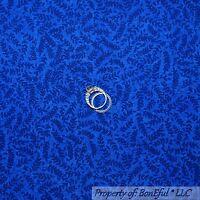BonEful FABRIC FQ Cotton Quilt VTG Dark Navy Blue LEAF Flower Calico Little Tone