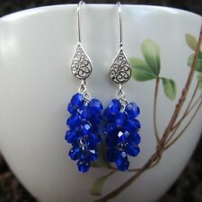 Blue catkins earrings- cobalt royal blue glass beads on sterling silver hooks