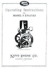 Novo Model S Gas Engine Motor Manual Book hit miss Single Flywheel Stationary