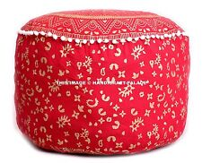 Small Indian Gold Ottoman pouf Cover Mandala Footstool Room Decorative Throw 22""