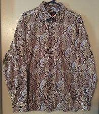 EQ Equilibrio Rooster Men's Size XL 100% Cotton Paisley Long Sleeve Shirt