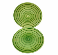 """Tabletops Unlimited Green SWIRL Hand Painted Collection Plate Salad 8 1/4"""" Lot 2"""