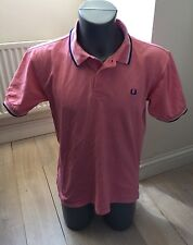 Authentic FRED PERRY Twin Tip Men's Pale Pink 100% Cotton Polo T Shirt EXC COND