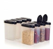 Tupperware Modular Mates LARGE Spice Containers Set of 8 BLACK New 1 Cup