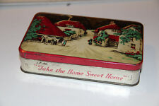 "Petite boîte à bonbons ancienne en métal ""Take the home sweet home""Noël"