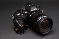 [TP] EZ Access Camera Half Case for Olympus E-M1 EM1 Genuine Leather ( Black )