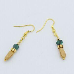Beige Agate Green Malachite Beaded Gold Drop Heart Earrings
