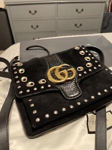 GUCCI Black Suede With Black Leather Straps Arli Medium Shoulder Bag Snake Purse