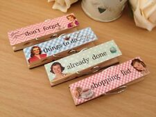 Set Of 4 Magnetic Pegs Retro Vintage Fridge Magnets Message Note Holder Clips