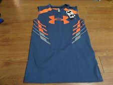 bnwt-boys sleeveless under armour shirt -size yxl-fitted-gray-orange-mesh back