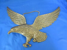 """Vintage Large Brass Tone Metal 14"""" Flying Eagle Wall Hanging Plaque & Chain"""