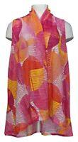 Susan Graver Women's Top Sz M Printed Novelty Knit Vest Pink A352217