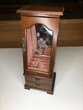 Tall Old Jewelry Box Display Twp Drawer Etched Glass Wood Vintage Rare