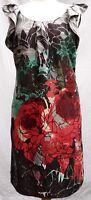 Oasis 100% silk multi floral print sleeveless shift dress UK 10