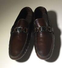 $775 LOUIS VUITTON Brown Leather Driver Shoes Mens Sz LV 8 / 9 us