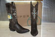 Roper 9.5 B Women's Native Inlay Cowgirl Boot Toe 09-021-7622-0123 BR sz 9 1/2 B