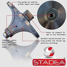 "STADEA Diamond Profile Grinding Wheel Bit 1 1/2"" Radius B40 Granite Marble Stone"