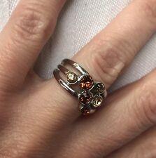 Lia Sophia Truffle Ring Size 6 Light Brown Gray Topaz Cz Silver Tone  Euc Rare
