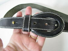 ESPRIT De Corps VINTAGE BLACK LEATHER BELT Cool Loop Buckle STUD FASTENER sz L